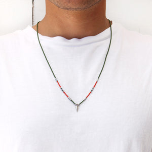 Rocky Necklace - Men - Green, Orange & Sterling Silver