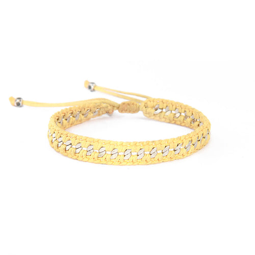 Crochet Bracelet - Yellow & Silver Plated