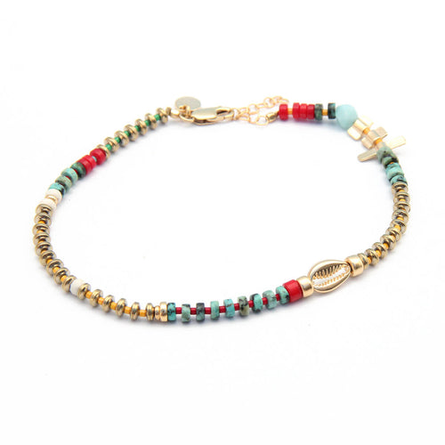 Niky Anklet - Red, Turquoise & Gold Plated