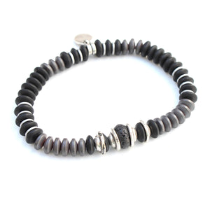 Bruce Bracelet - Men - Black & Silver Plated