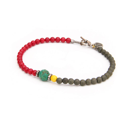Barcelona Bracelet - Men - Turquoise, Red, Yellow, Sterling Silver