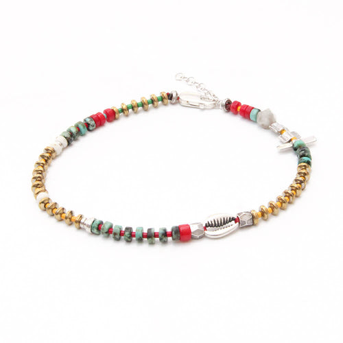Niky Anklet - Red, Turquoise & Sterling Silver