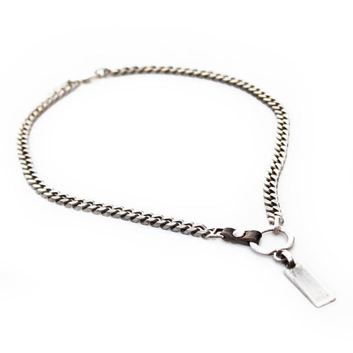 Charlie Leather Necklace - Men - Black & Silver Plated
