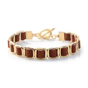 Mini Anat Bracelet - Brown & Gold Plated