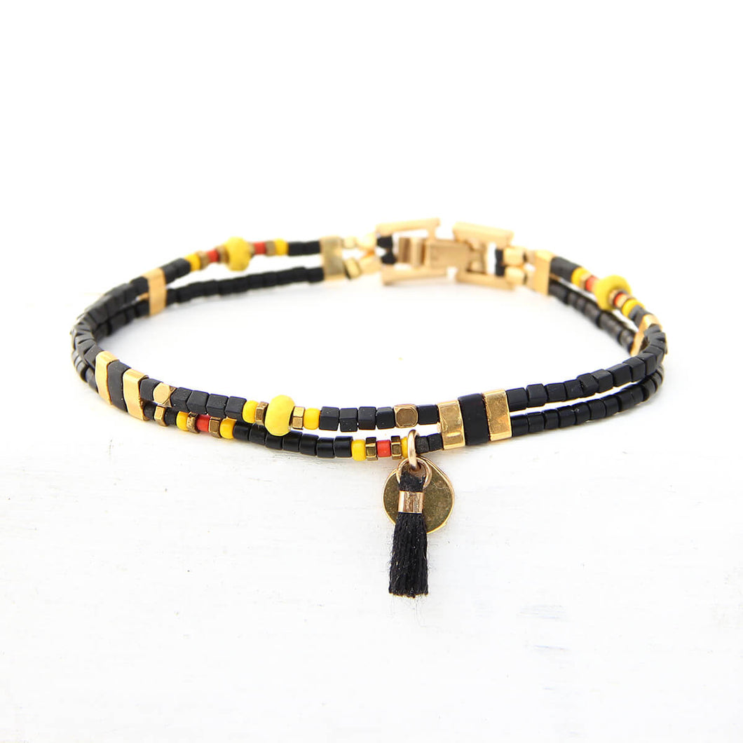 Noel Bracelet - Red, Black, Yellow & Gold Plated