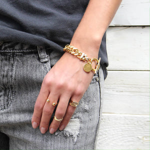 Thick Double Curb Chain Bracelet - Gold Plated