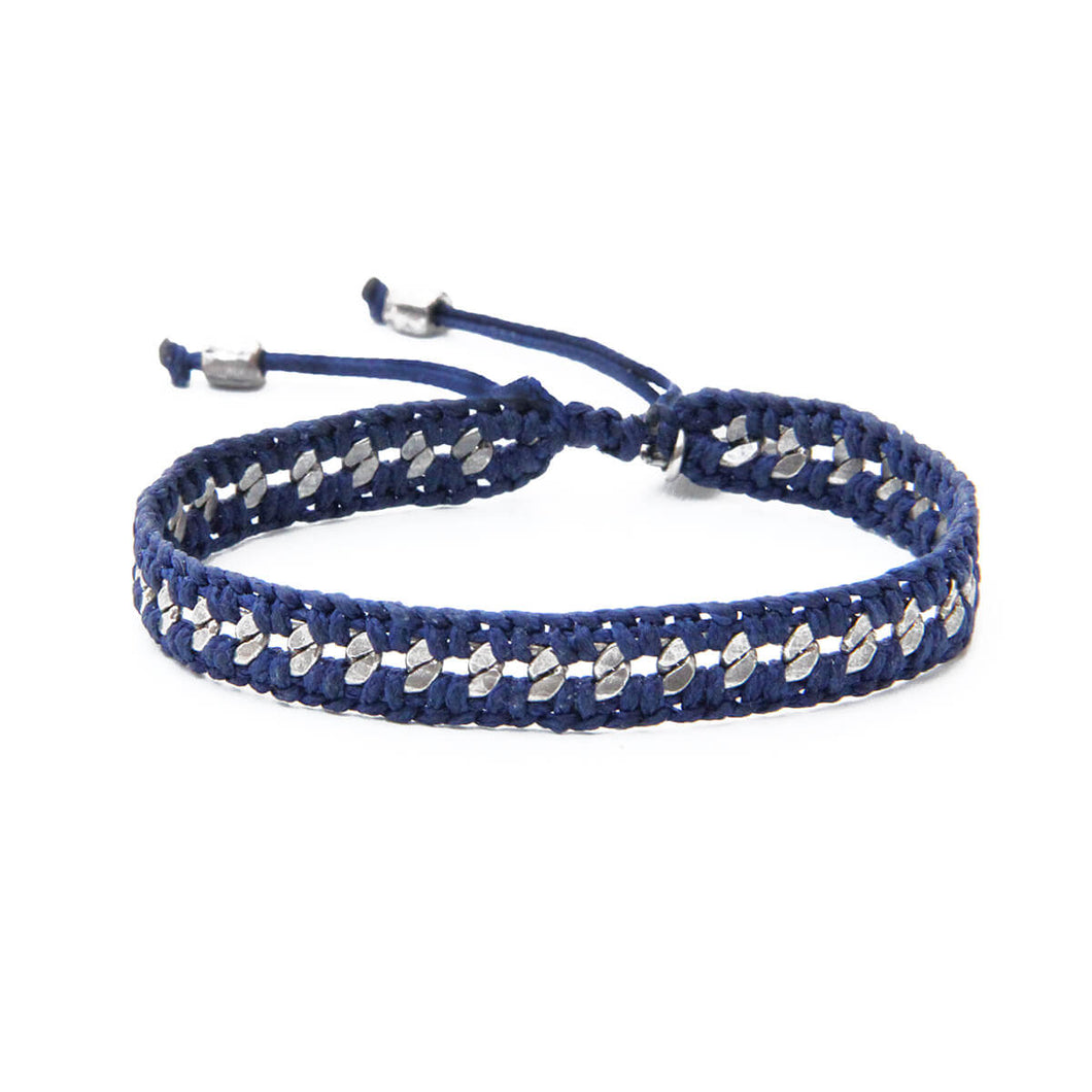 Crochet Bracelet - Men - Blue & Silver Plated