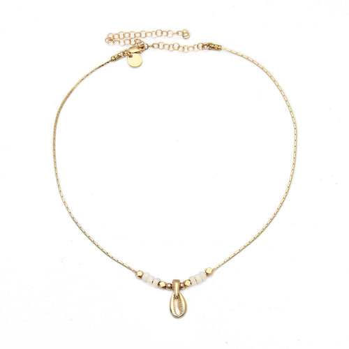 Acapulco Choker Necklace - Cream, Gold-filled