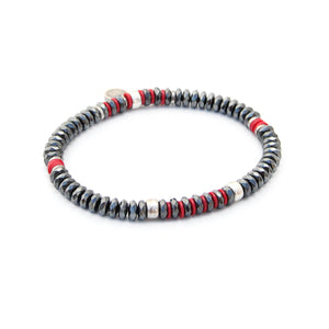 Tracy Bracelet - Red, Hematite & Silver Plated