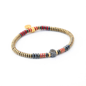 Lauren Bracelet - Red, Hematite & Gold Plated