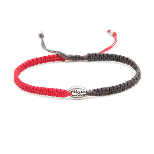 Shell Crochet Bracelet - Men - Grey, Red & Sterling Silver