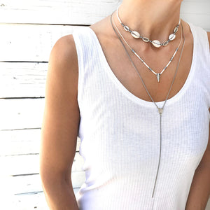 Rocky Necklace - White & Silver Plated