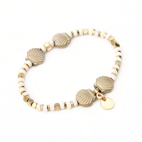 Ariel Bracelet - White & Gold Plated