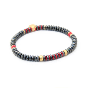 Tracy Bracelet - Red, Hematite & Gold Plated