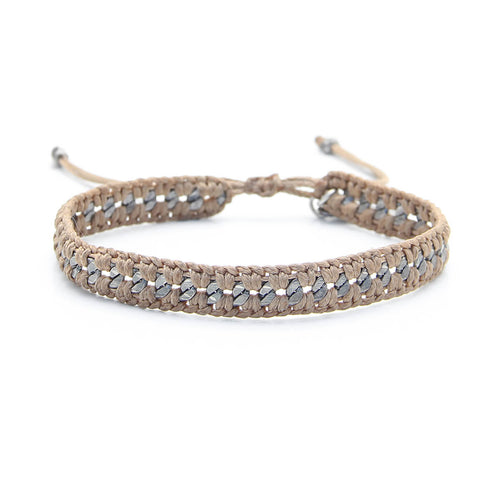 Crochet Bracelet - Men - Mustard Brown & Silver Plated