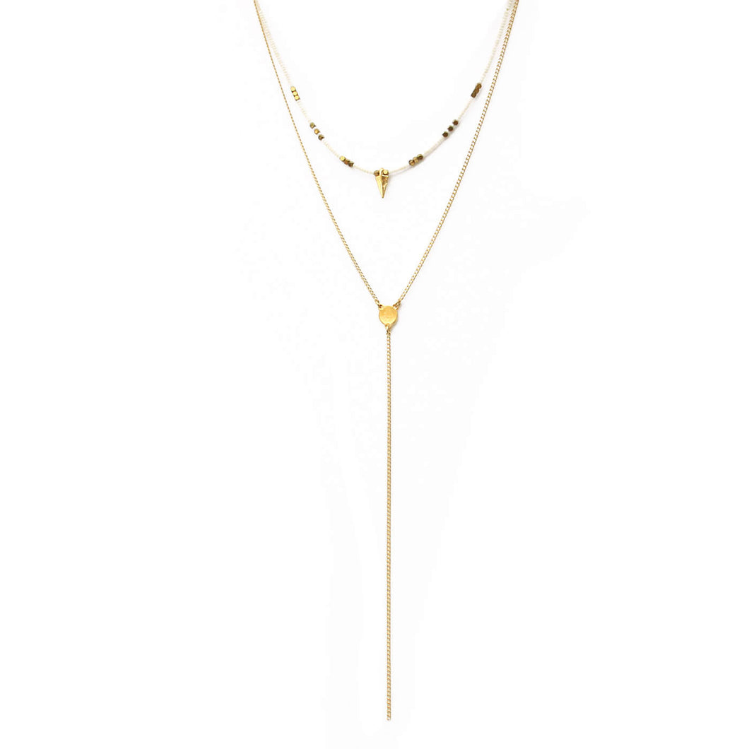 Rocky Necklace - White & Gold Plated