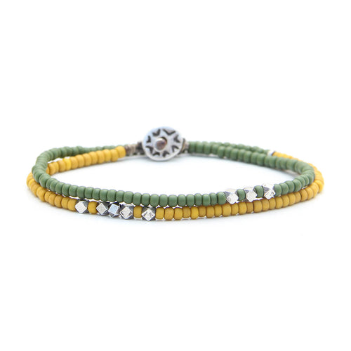 Valencia Bracelet - Men - Green, Yellow & Sterling Silver