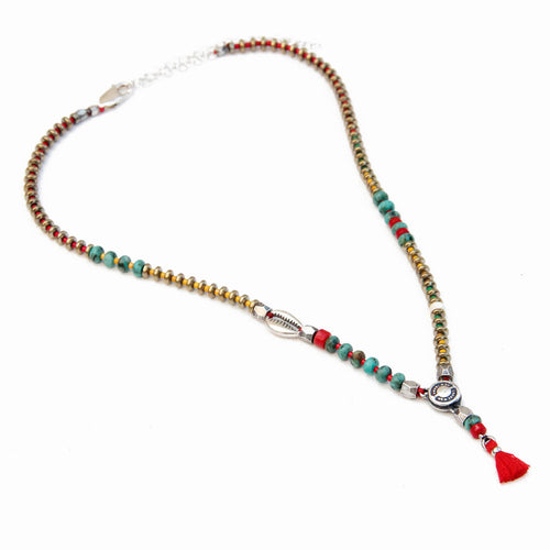 Niky Necklace - Red, Turquoise, Sterling Silver & Silver Plated