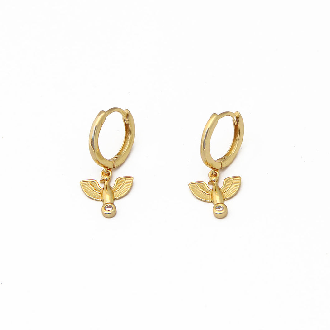 Wings Earrings - Sterling Silver in Micron Gold Plating