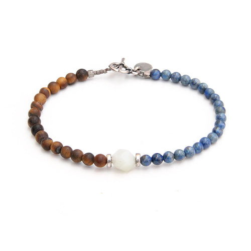 Barcelona Bracelet - Men - Blue, Brown, Sterling Silver