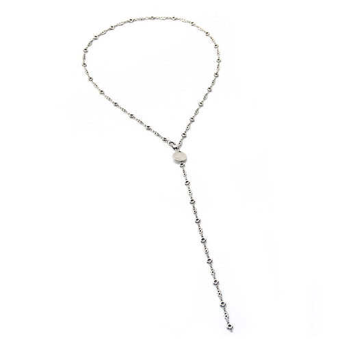 Y Flowers Necklace - Silver Plated