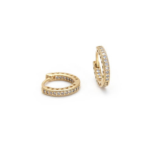 Sterling Silver Hoop Earrings with Clear Zircons - 2 Micron Gold Plated