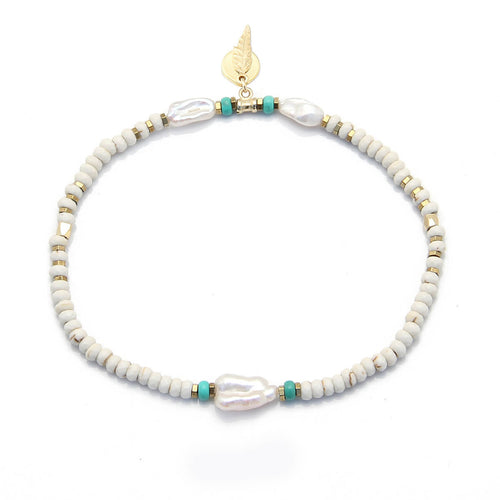 Brooke Anklet - Cream, Turquoise, Gold Plated
