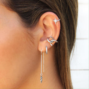 Zircons Star Earrings - Sterling Silver