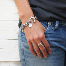 Thick Double Curb Chain Bracelet - Silver Plated