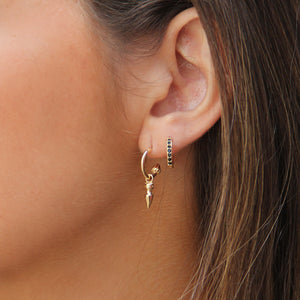 Sterling Silver Hoop Earrings with Black Zircons - Micron Gold Plated