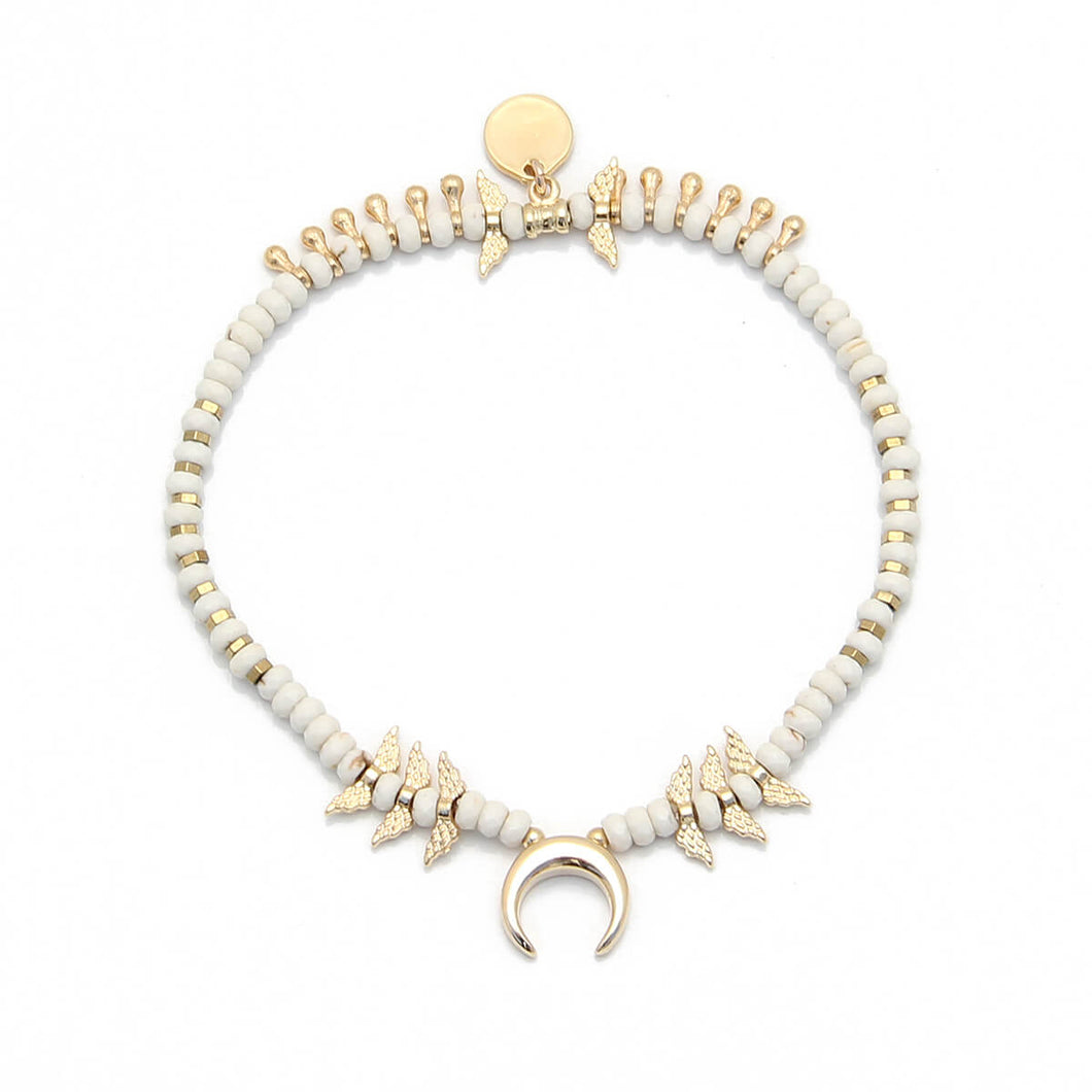 Mona Anklet - White, Gold Plated