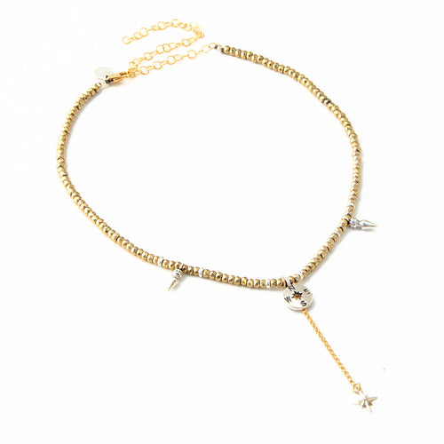 Gina Choker Necklace - Hematite (Gold Plated) & Sterling Silver