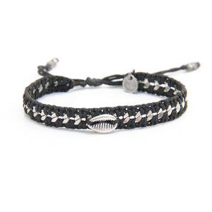 Karni Craft | Black & Silver Plated Hend-knotted Bracelet with Sea Shell