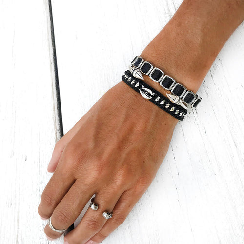 Karni Craft | Bracelet for woman - Black & Silver Bracelets Stack