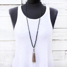 Grey Tassel Mala Necklace