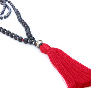 Red Tassel Mala Necklace