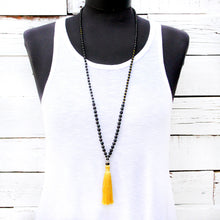 Yellow Tassel Mala Necklace