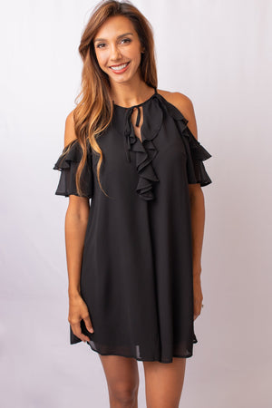 Cold Shoulder Ruffled Dress