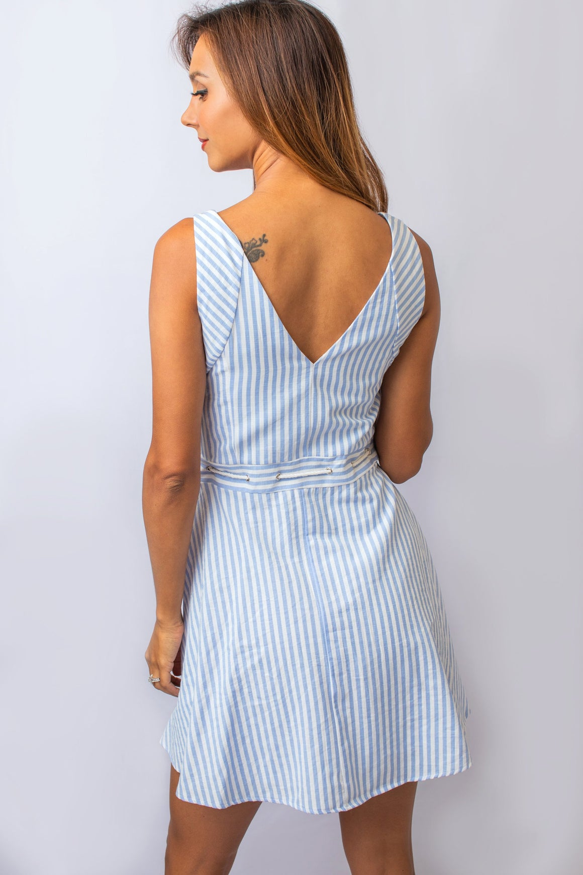 Blue and White Striped Nautical Style Dress