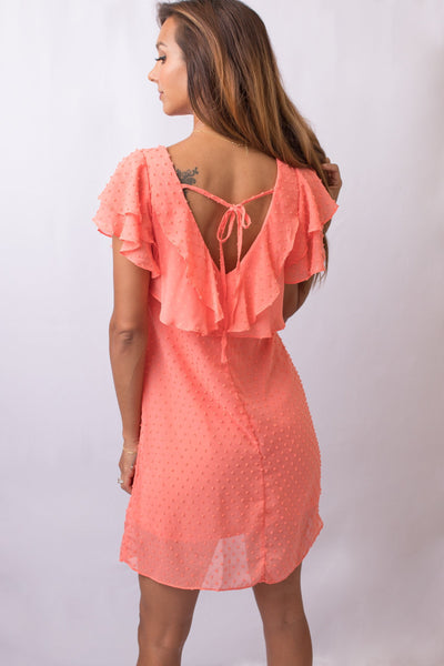 Coral Dotted Mesh Tunic Dress