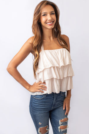 Cream Halter Neck Ruffled Blouse