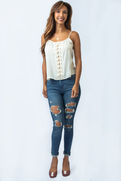 Cream Lace-Up Top