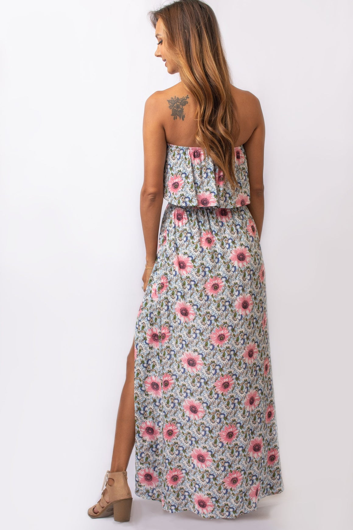 Floral Strapless Ruffled Maxi Dress