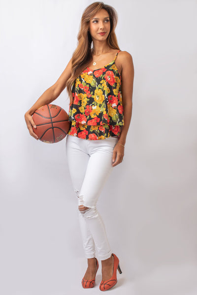 Multi Color Floral Dual Layer Top