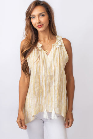 Mustard and White Sleeveless Tunic Top