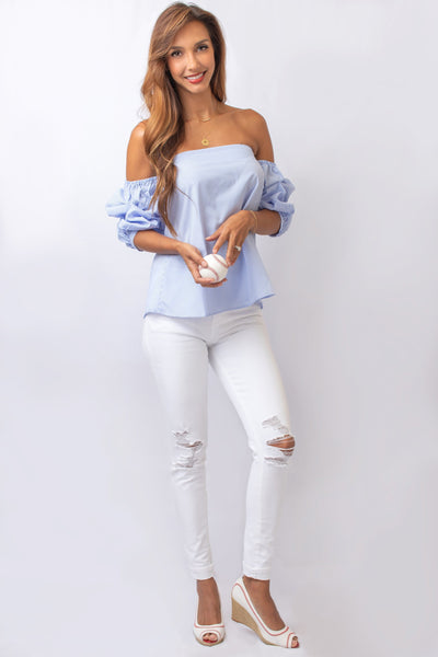Off-the-Shoulder Pinstripe Blouse