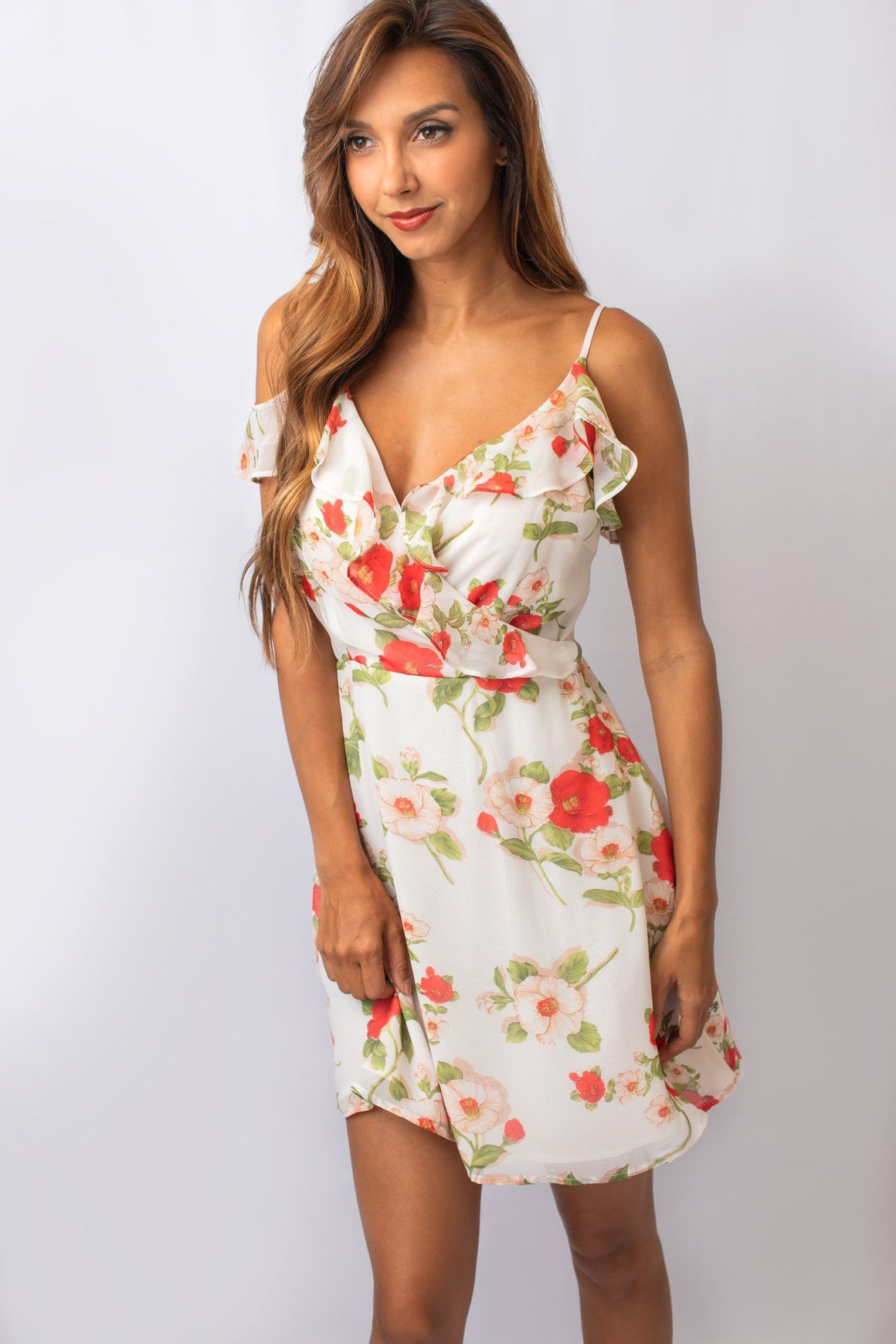 Off-White Floral Cold Shoulder Dress
