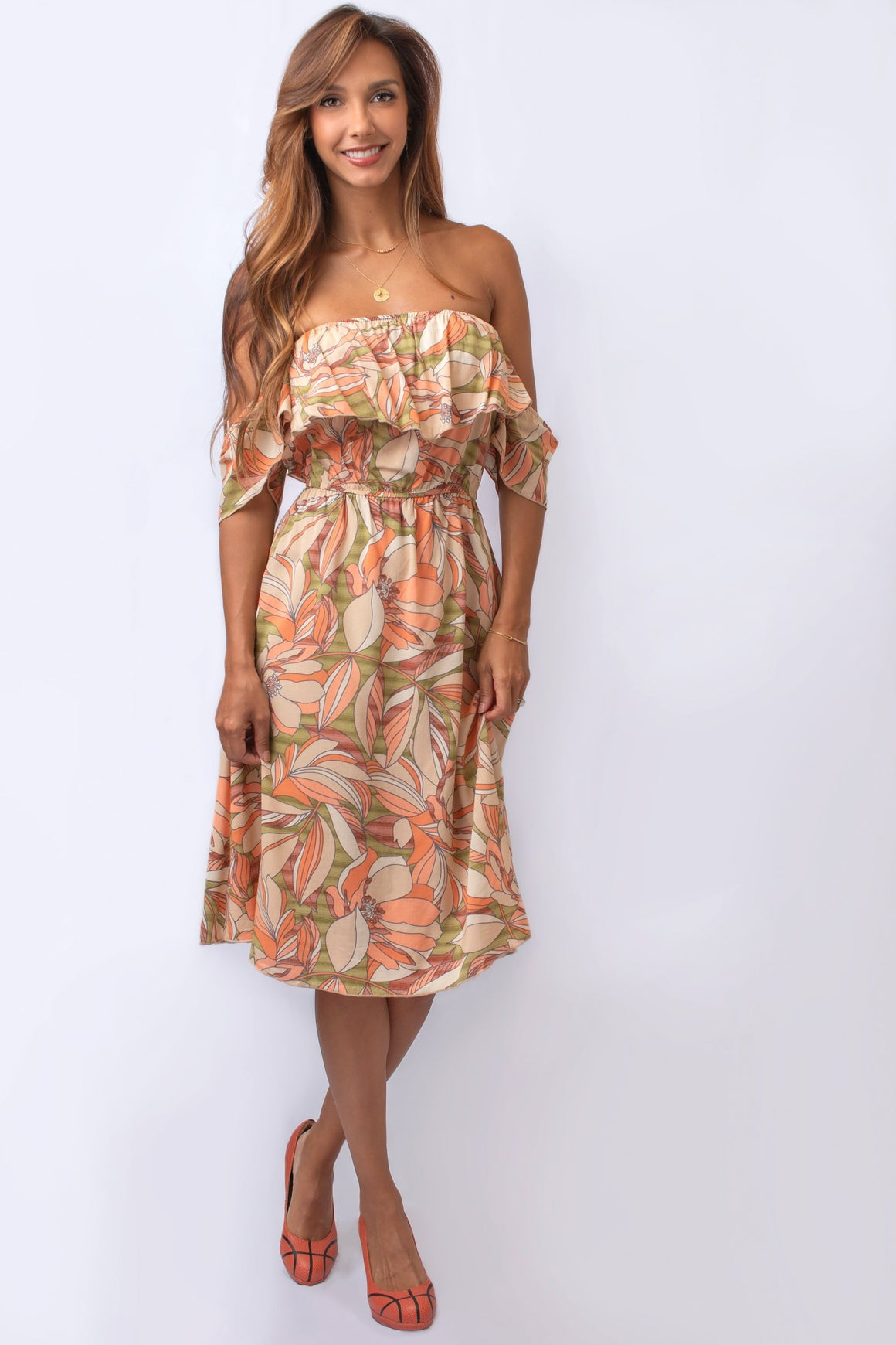 Olive and Peach Floral Off-the-Shoulder Dress