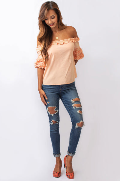 Peach Off-the-Shoulder Top