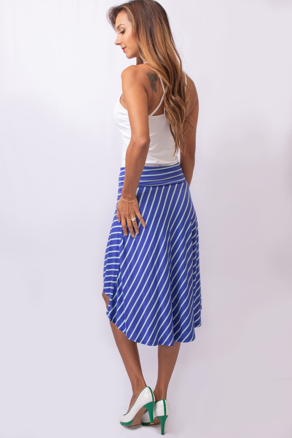 Royal Blue Striped High-Low Skirt
